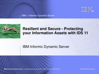 Resilient and Secure - Protecting your Information Assets with IDS 11