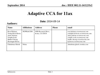 Adaptive CCA for  11ax