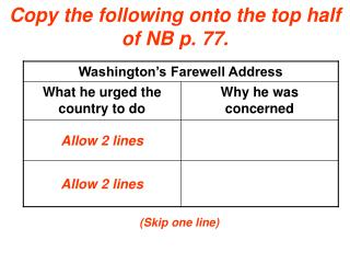 Copy the following onto the top half of NB p. 77.
