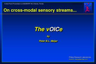 On cross-modal sensory streams...