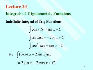 Indefinite Integral of Trig Functions