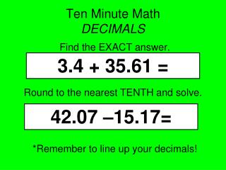 Ten Minute Math  DECIMALS