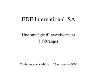 EDF International  SA
