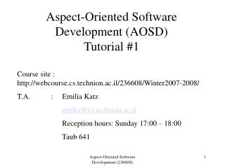 Aspect-Oriented Software Development (AOSD) Tutorial #1