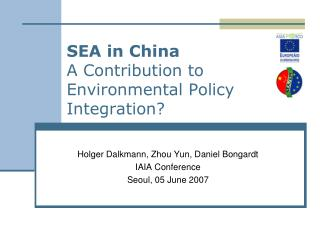 SEA in China A Contribution to Environmental Policy Integration?