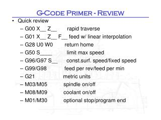 G-Code Primer - Review
