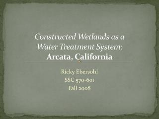 Constructed Wetlands as a Water  Treatment System: Arcata, California