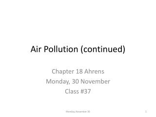 Air Pollution (continued)