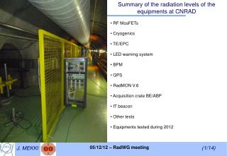 Summary of the radiation levels of the equipments at CNRAD