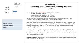 ePlanning Basics:  Submitting Public Comments on ePlanning Documents (1610-41)