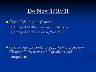 Do Now 1/10/11