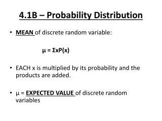 4.1B – Probability Distribution