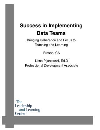 Success in Implementing  Data Teams