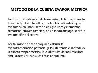 METODO  DE LA CUBETA EVAPORIMETRICA