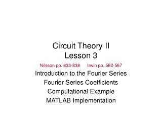 Circuit Theory II Lesson 3