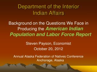 Department of the Interior Indian Affairs