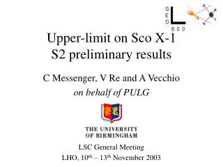 Upper-limit on Sco X-1 S2 preliminary results