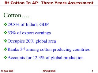 Bt Cotton In AP- Three Years Assessment