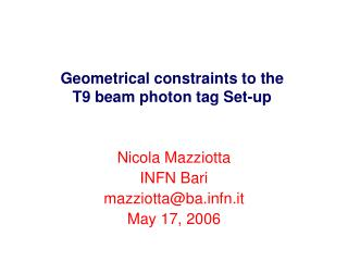 Geometrical constraints to the T9 beam photon tag Set-up
