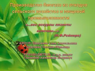 Производство биогаза из отходов сельского хозяйства и пищевой промышленности