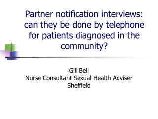 Gill Bell Nurse Consultant Sexual Health Adviser Sheffield