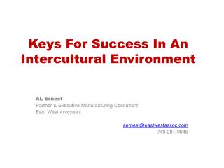 Keys For Success In An Intercultural Environment