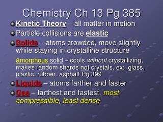 Chemistry Ch 13 Pg 385