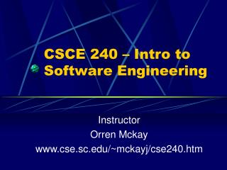 CSCE 240 – Intro to Software Engineering