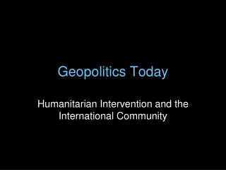 Geopolitics Today