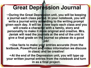 Great Depression Journal