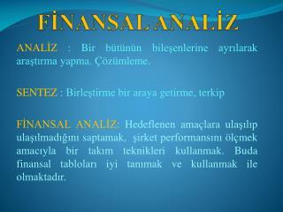 FİNANSAL ANALİZ