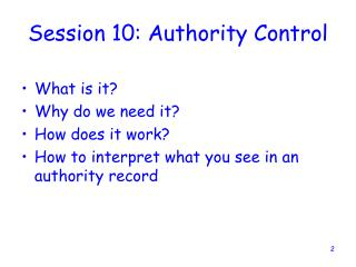 Session 10: Authority Control