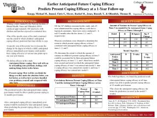 Earlier Anticipated Future Coping Efficacy  Predicts Present Coping Efficacy at a 1-Year Follow-up