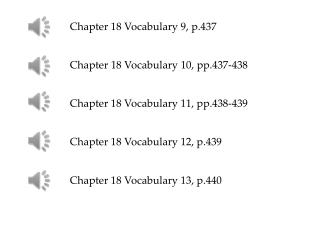 Chapter 18 Vocabulary 9, p.437 Chapter 18 Vocabulary 10, pp.437-438