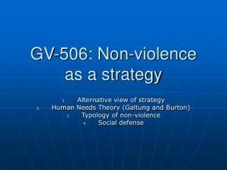 GV-506: Non-violence as a strategy