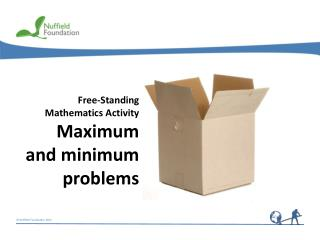 Free-Standing Mathematics Activity Maximum  and minimum problems
