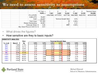 We need to assess sensitivity to assumptions
