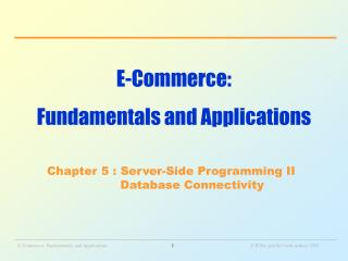 E-Commerce:  Fundamentals and Applications