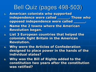 Bell Quiz (pages 498-503)