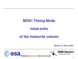 MOS1 Timing Mode noise echo  of the meteorite column Madrid, 23. March 2009