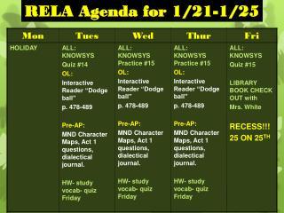 RELA Agenda for 1/21-1/25