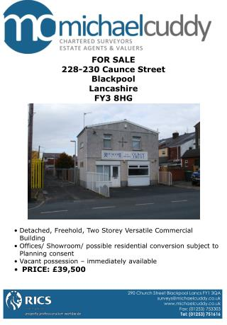 FOR SALE 228-230 Caunce Street Blackpool Lancashire FY3 8HG