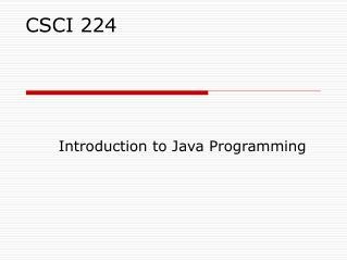 CSCI 224