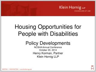 Housing Opportunities for People with Disabilities
