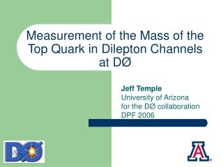 Measurement of the Mass of the  Top Quark in Dilepton Channels  at DØ