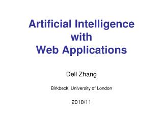 Artificial Intelligence  with  Web Applications