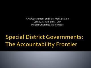 Special District Governments: The Accountability Frontier
