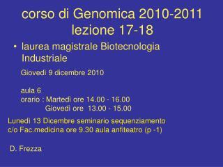 corso di Genomica 2010-2011 lezione 17-18
