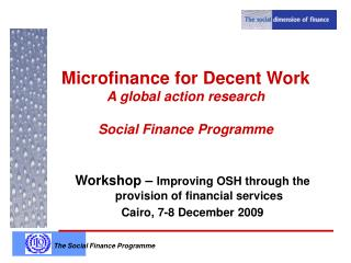 Microfinance for Decent Work A global action research  Social Finance Programme