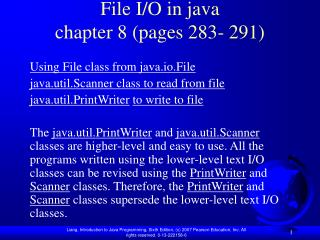 File I/O in java chapter 8 (pages 283- 291)